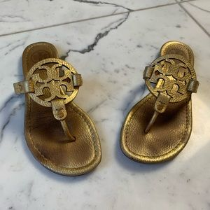 Tory Burch Gold Miller Leather Sandals Size 6